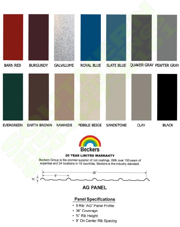 Color Chart Southern Steel Buildings